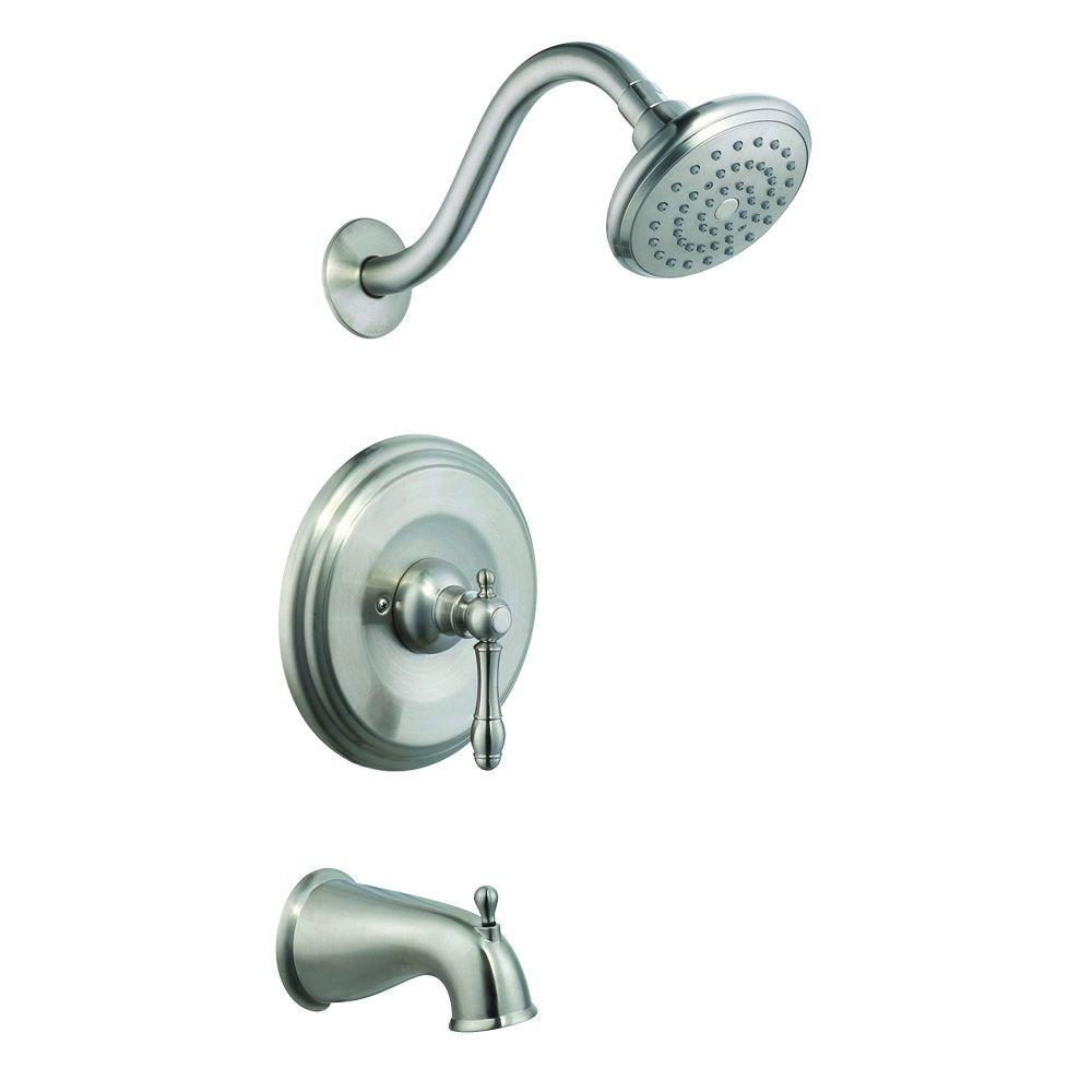 Design House Oakmont Single Handle 1 Spray Tub And Shower Faucet In Satin  Nickel