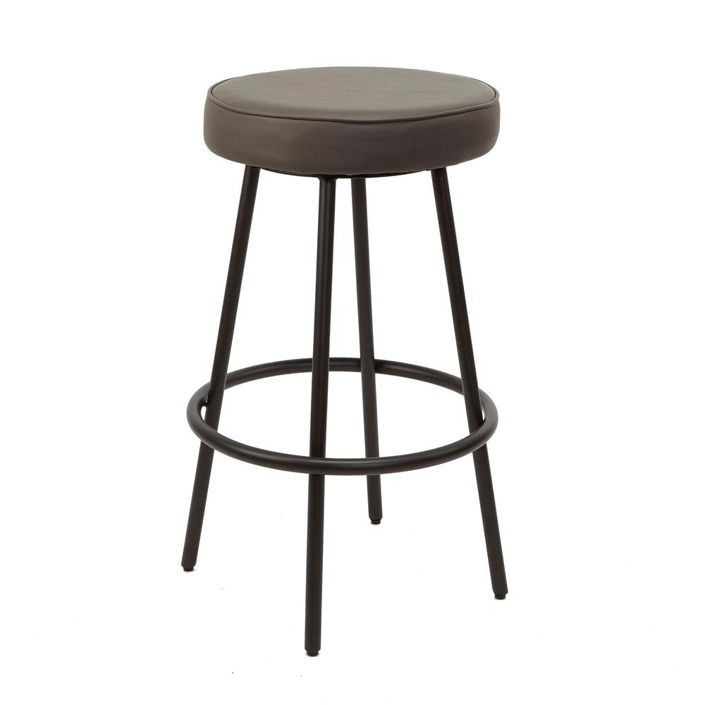 29 in. Charcoal Carly Metal Upholstered Round Backless Barstool