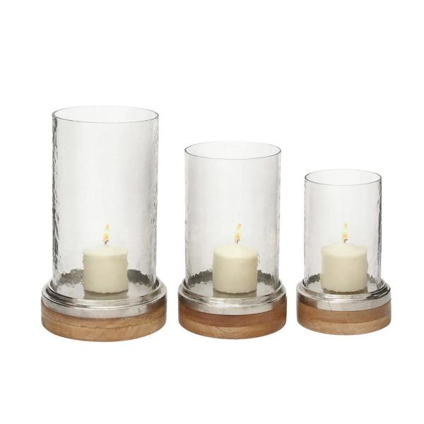 Clear Deco 79 Hurricane Candle Holders Large Silver