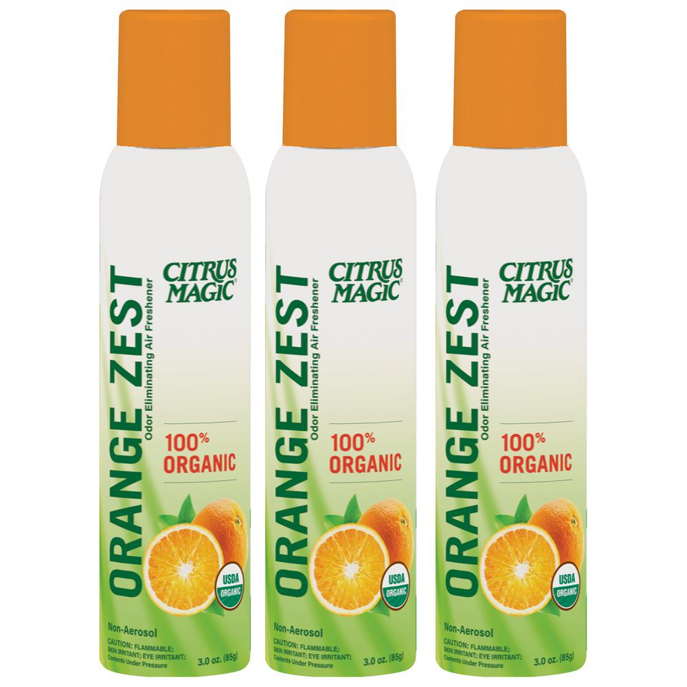 Citrus Magic Organic 3.5 oz. Orange Zest Odor Eliminating Air Freshener Spray (3-Pack)