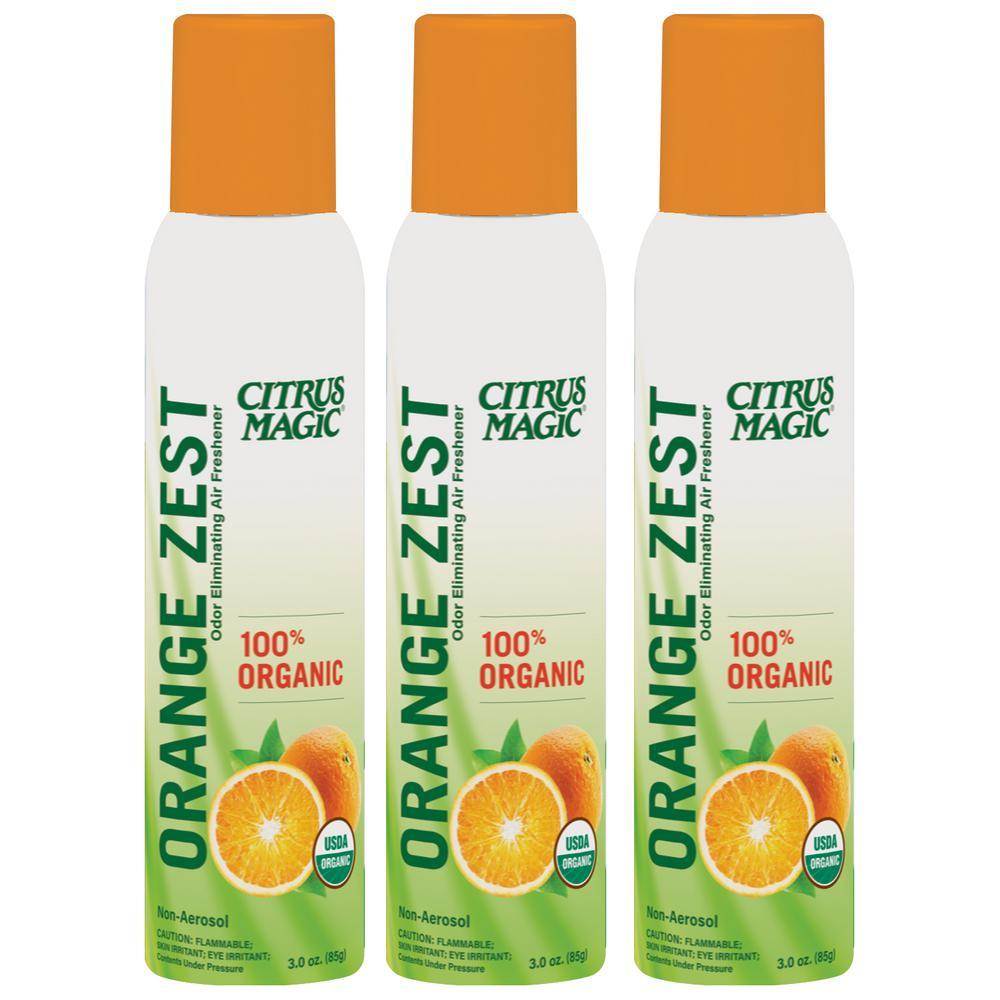 Organic 3.5 oz. Orange Zest Odor Eliminating Air Freshener Spray (3-Pack)