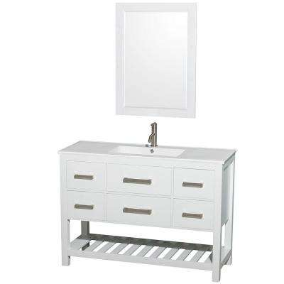 Natalie 48 in. Vanity in White with Porcelain Vanity Top in White, Integrated White Sink and 24 in. Mirror