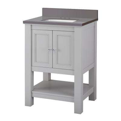 Gazette 25 in. W x 22 in. D Bath Vanity Cabinet in Grey with Engineered Marble Vanity Top in Slate Grey with White Sink