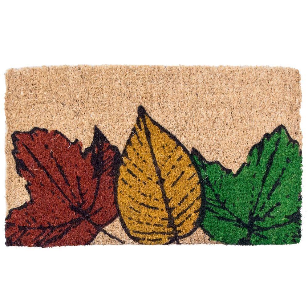 Fallen Leaves 18 in. x 30 in. Coir Door Mat