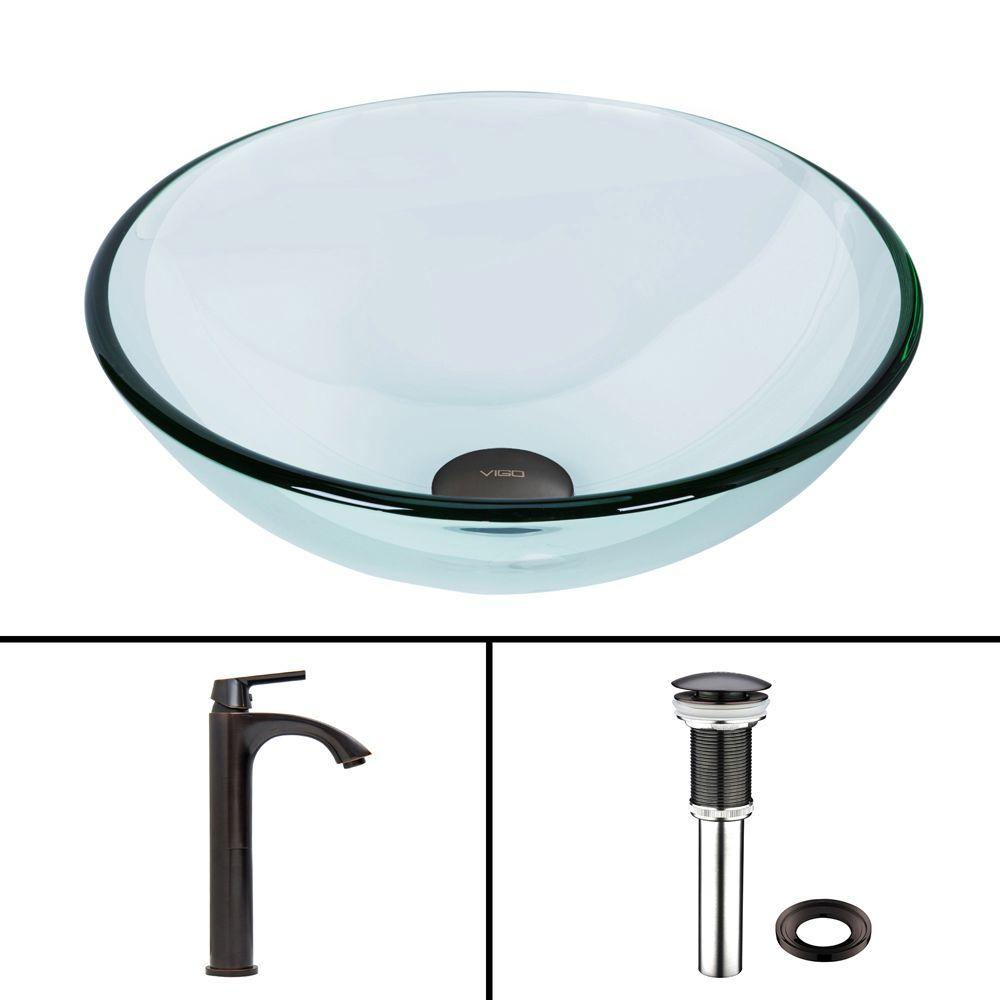 Glass Vessel Sink in Crystalline and Linus Vessel Faucet Set in