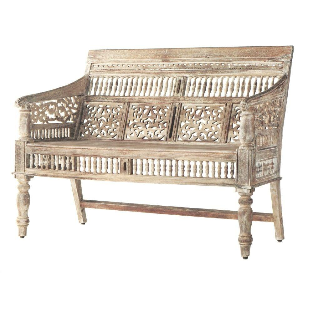 Home Decorators Collection Maharaja Sandblasted White Bench ...