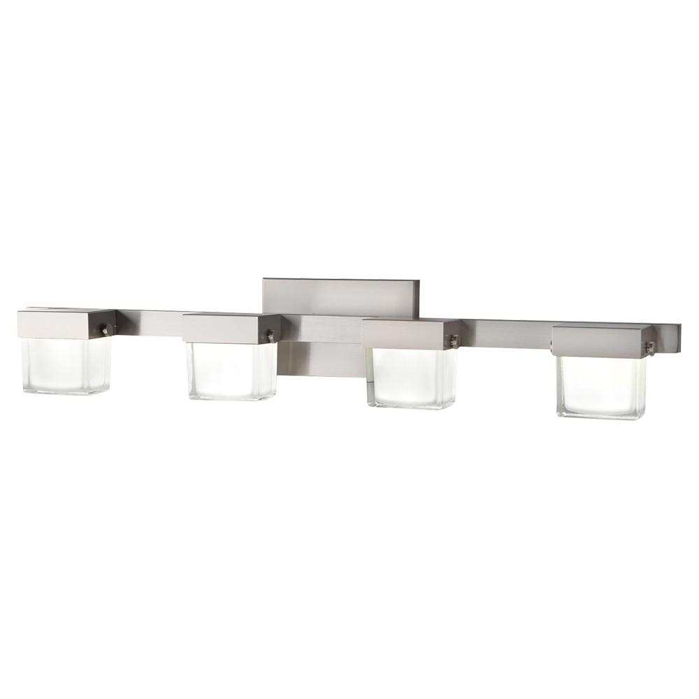 40-Watt Equivalent 4-Light Brushed Nickel Integrated LED Vanity Light with  White