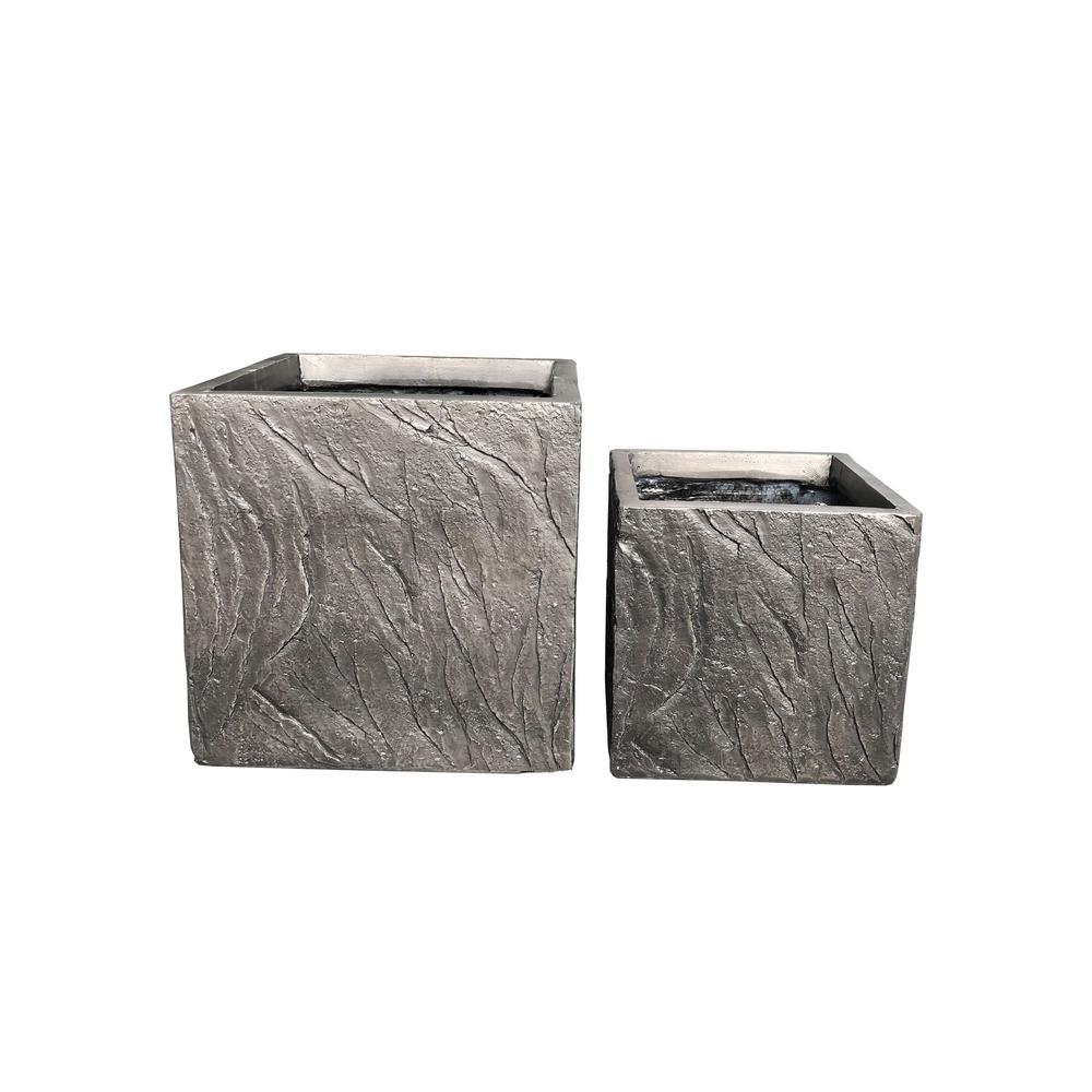 Lightweight Concrete Slate Cube Dark Brown Planter (Set of 2)
