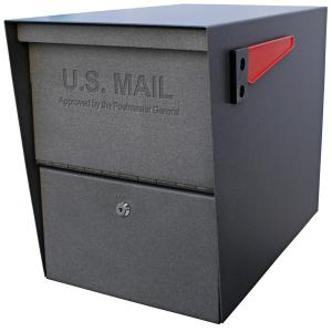 Mail Boss Package Master Locking Post-Mount Mailbox with High Security Patented Lock, Granite by Mail Boss