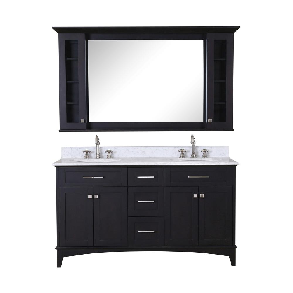 Water Creation Manhattan 60 in. Vanity in Dark Espresso with Marble Vanity Top in Carrara White and Matching Mirror