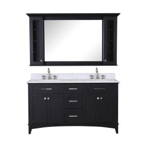Water Creation Manhattan 60 inch Vanity in Dark Espresso with Marble Vanity Top... by Water Creation