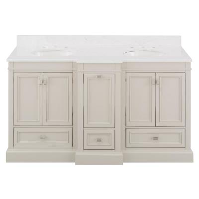 Braylee 61 in. W x 24 in. D Vanity Cabinet in Rainy Day with Engineered Stone Vanity Top in White with White Sink
