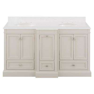 Braylee 61 In W X 24 In D Vanity Cabinet In Rainy Day With Engineered Stone Vanity Top In White With White Sink