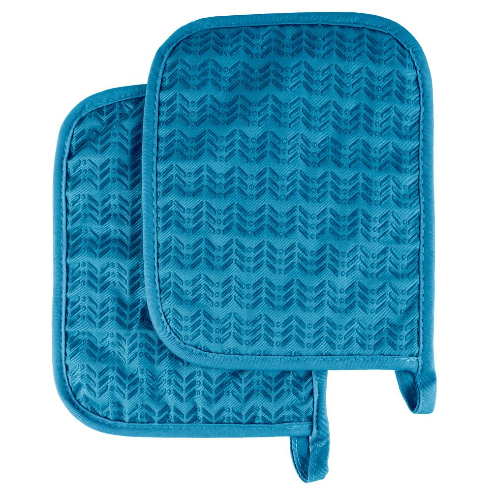 Quilted Silicone Blue Heat Resistant Pot Holder Set (2-Pack)