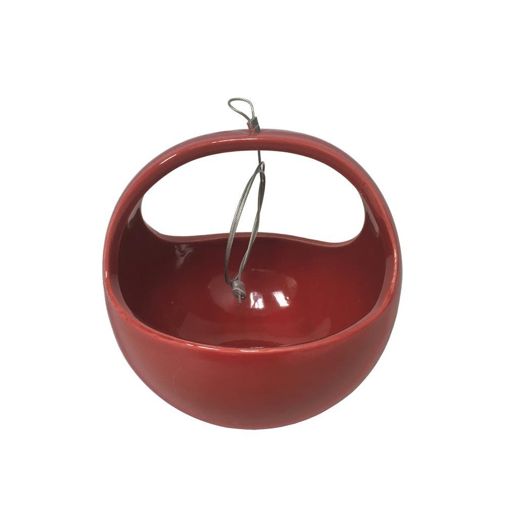 Basket 4-1/2 in. x 4-1/2 in. Red Ceramic Hanging Planter