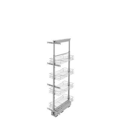 10 in. Chrome 4-Basket Pull-Out Pantry with Soft-Close Slides