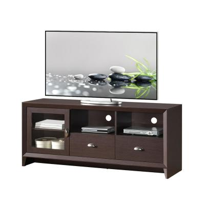 17 in. Wenge Composite TV Stand with 2 Drawer Fits TVs Up to 60 in. with Storage Doors