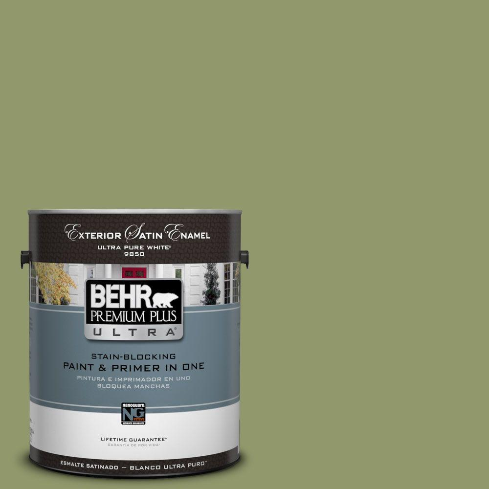 BEHR Premium Plus Ultra 1-gal. #HDC-SP14-2 Exotic Palm Satin Enamel Exterior Paint