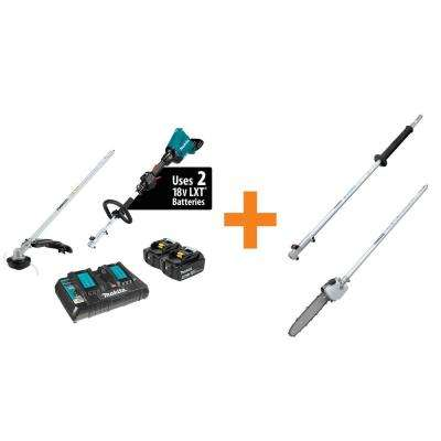 18-Volt X2 (36-Volt) LXT Couple Shaft Power Head Kit with Trimmer 42 in. Shaft Extension and 10 in. Pole Saw Attachment