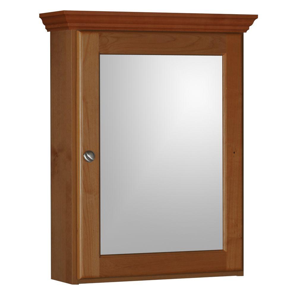 Ultraline 19 in. W x 27 in. H x 6-1/2 in. D Framed Surface-Mount Bathroom Medicine Cabinet in Medium Alder