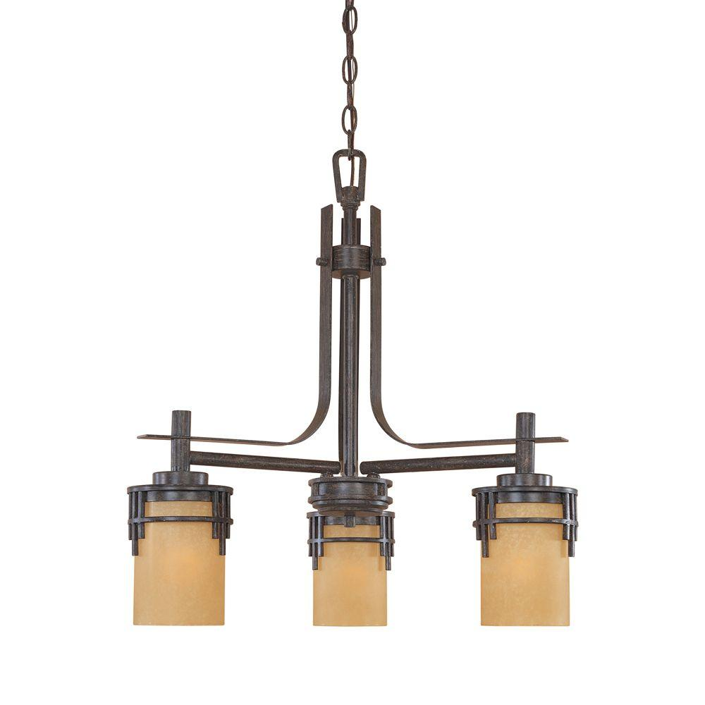 Designers Fountain Mission Ridge 3 Light Warm Mahogany Hanging Chandelier