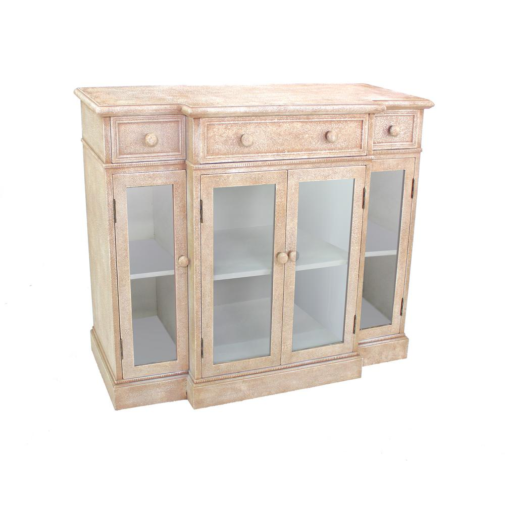Beige Wood Console Table with Storage