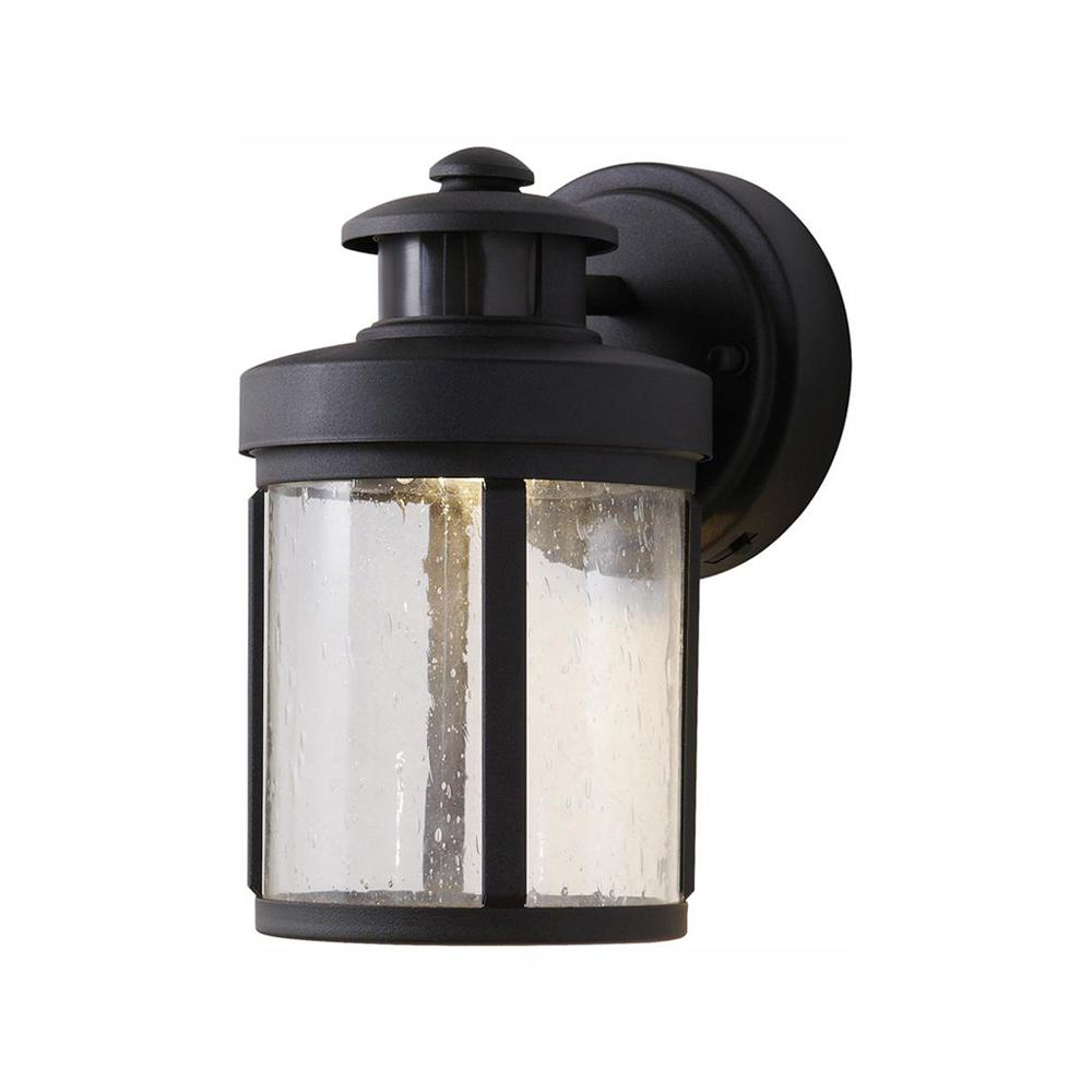 Hampton Bay Black Motion Sensor Outdoor Integrated Led Wall Lantern Sconce Izd1691ls 3 The Home Depot