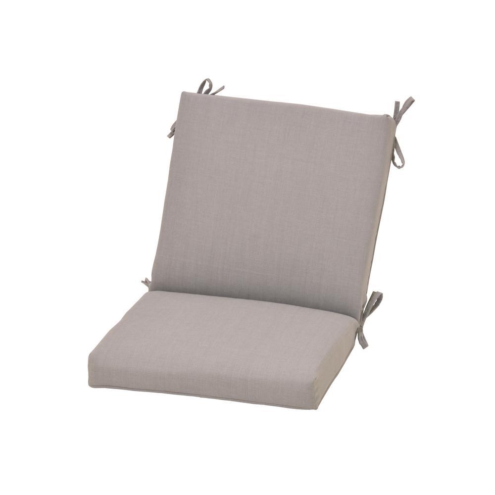 Hampton Bay CushionGuard Pewter Outdoor Mid-Back Dining Chair Cushion