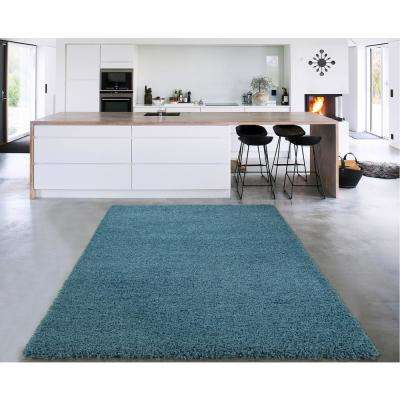Cozy Shag Collection Turquoise 7 Ft. X 9 Ft. Indoor Area Rug