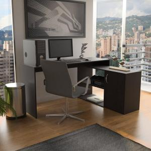 Axis Espresso L-Shaped Corner Desk with Door and Shelves by