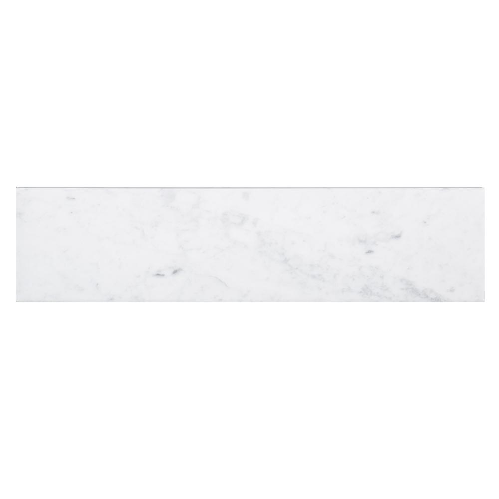 Italian White Carrara 4 in. x 16 in. Honed Marble Field