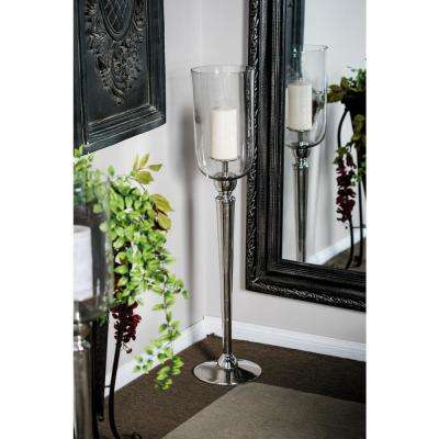 36 in. Clear Glass and Silver Metal Cup Candle Holder