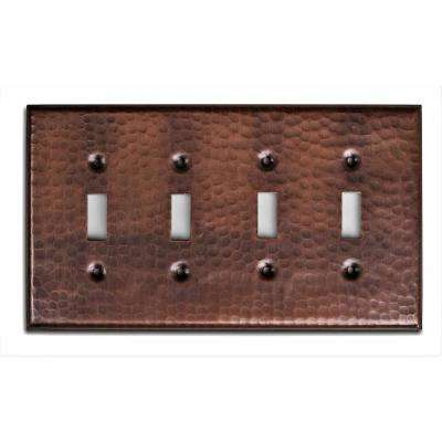 Monarch Pure Copper Hand Hammered Quad Toggle Wall Plate