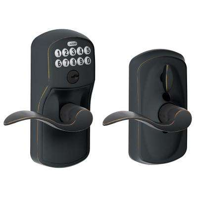 Plymouth Aged Bronze Electronic Door Lock with Accent Door Lever Featuring Flex Lock