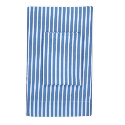 Aiden Stripe Pacific Blue 200-Thread Count Cotton Percale Queen Flat Sheet