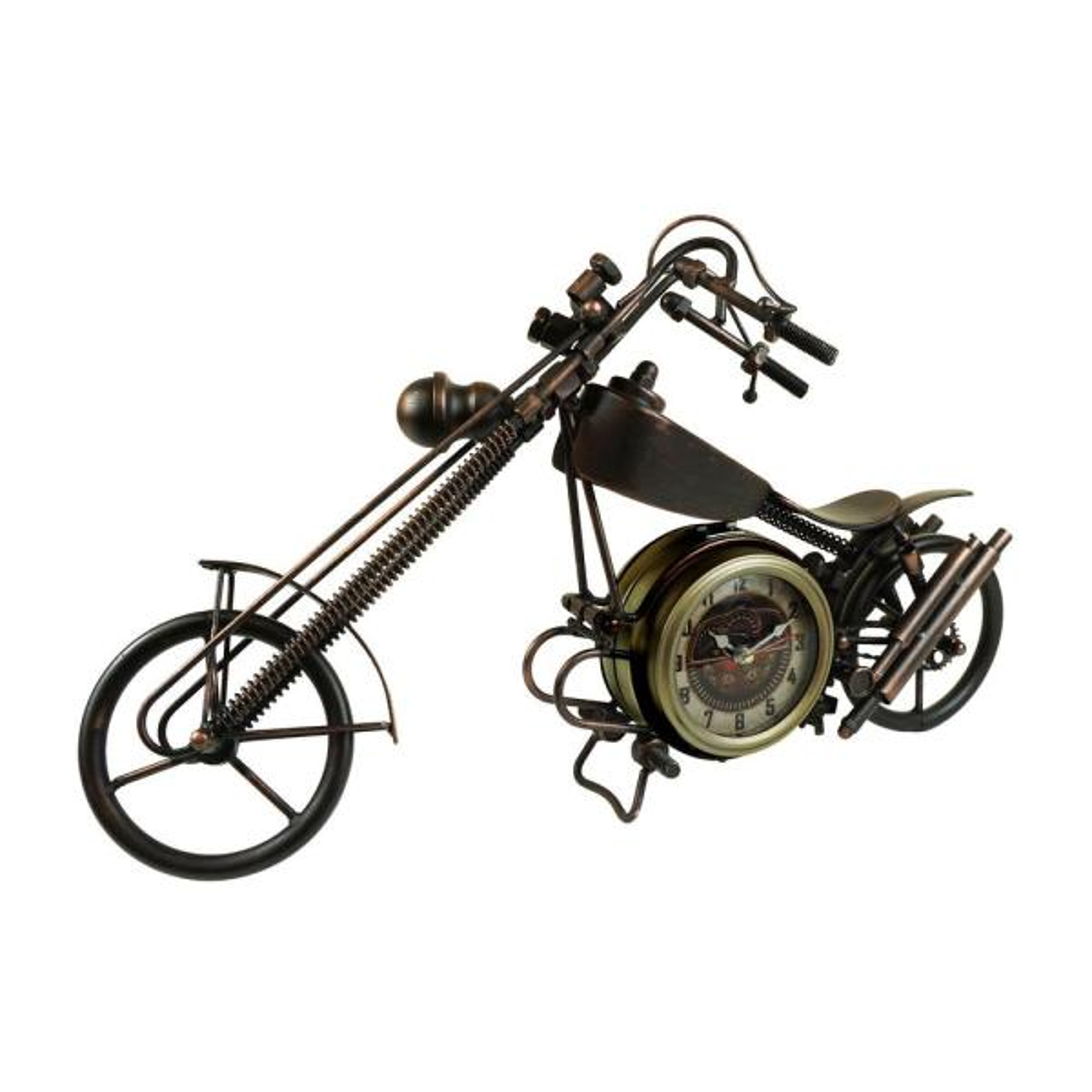 rustic motorcycle TABLE CLOCK