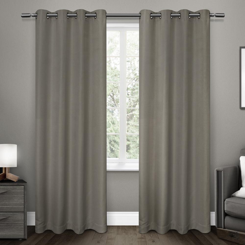 Melrose Black Pearl Blackout Grommet Top Window Curtain