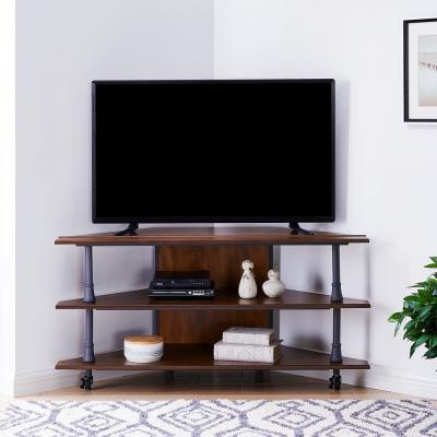Norton 48 in. Dark Tobacco and Aged Gray Wood Corner TV Stand Fits TVs Up to 45 in. with Open Storage