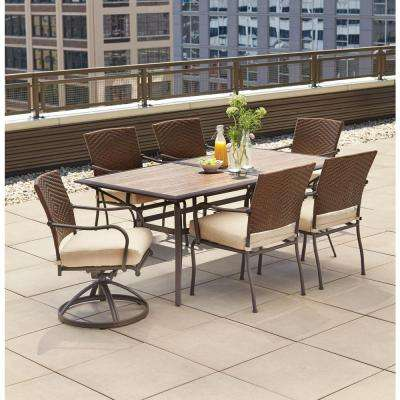 Pin Oak 7-Piece Wicker Outdoor Dining Set with Oatmeal Cushion