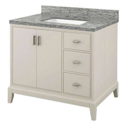 Shaelyn 37 in. W x 22 in. D Bath Vanity in Rainy Day RH with Granite Vanity Top in Santa Cecilia with White Sink
