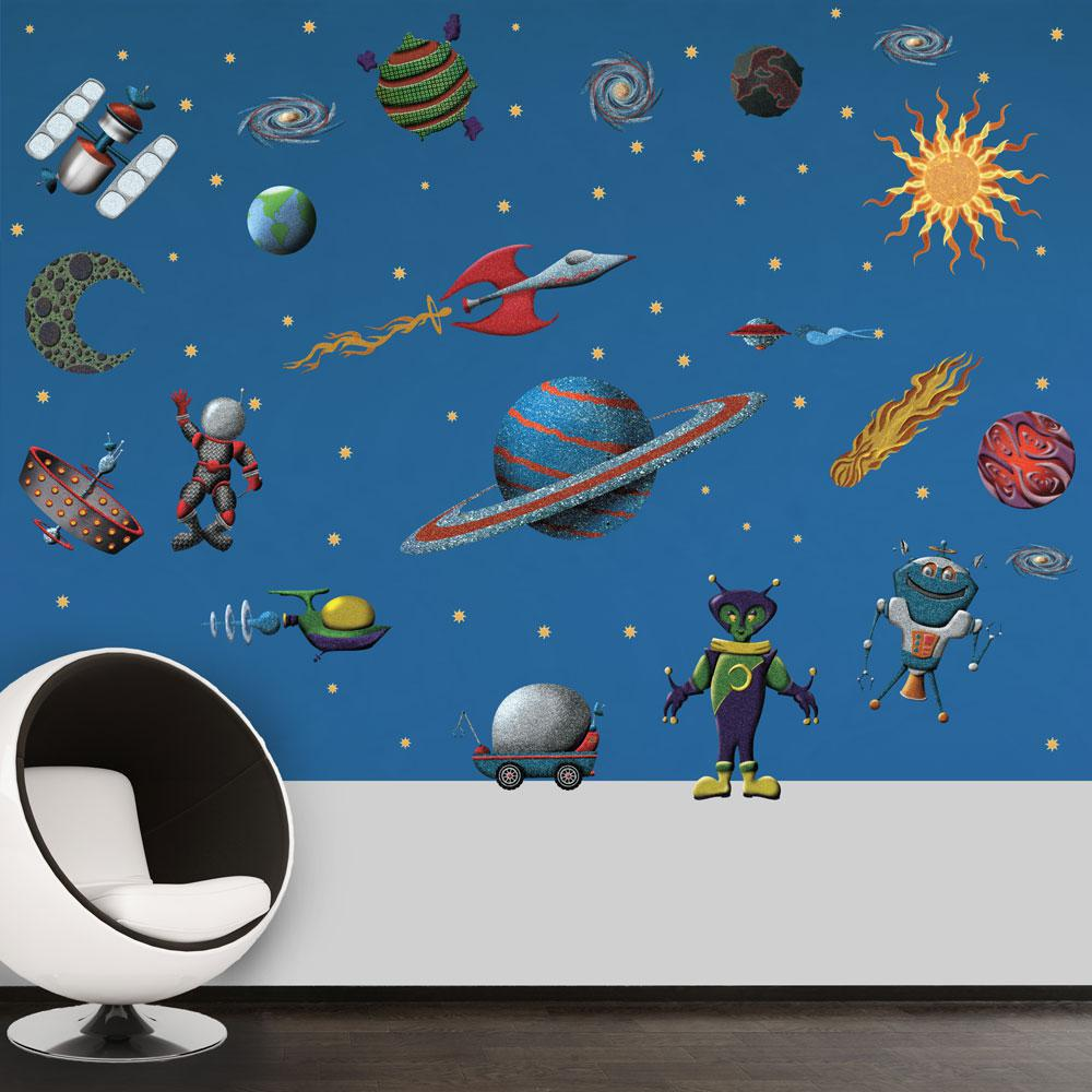 Outer Space Peel And Stick Removable Wall Decals Space Alien Theme 71 Piece Set