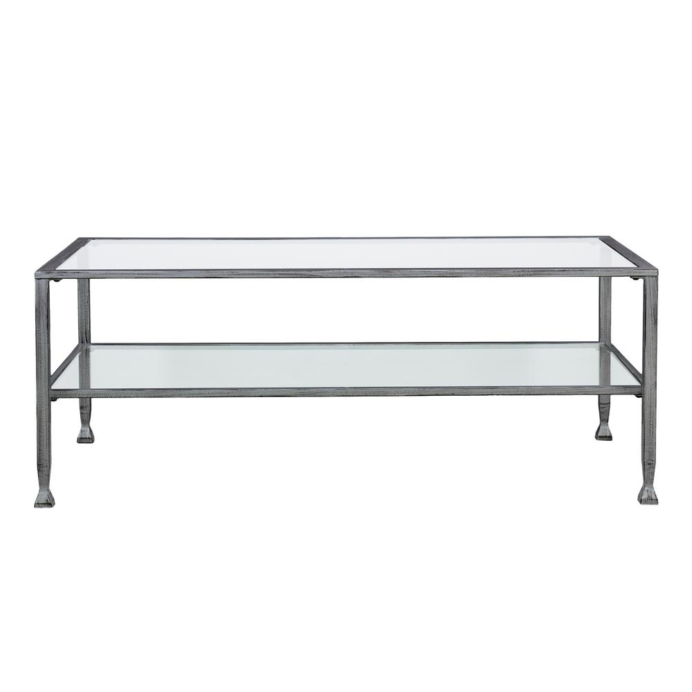 Galena Silver Metal and Glass Rectangular Open Shelf Cocktail Table