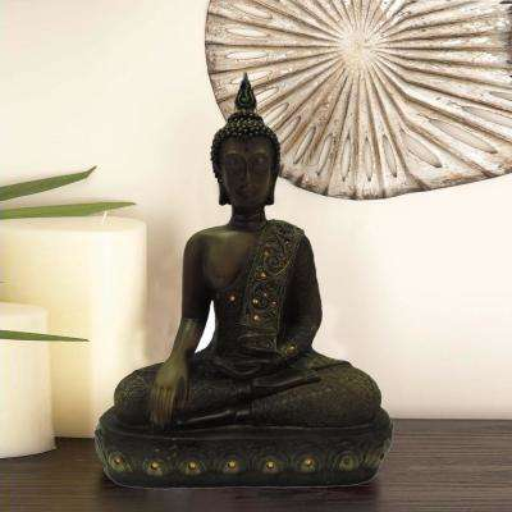 Polystone Buddha Figurine with Pointed Ushnisha-Brown