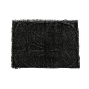 Warrin Black and White Streak Faux Fur Throw Blanket
