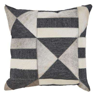 Homestead Gaucho Abstract Indoor Charcoal and Beige 20 in. x 20 in. Throw Pillow