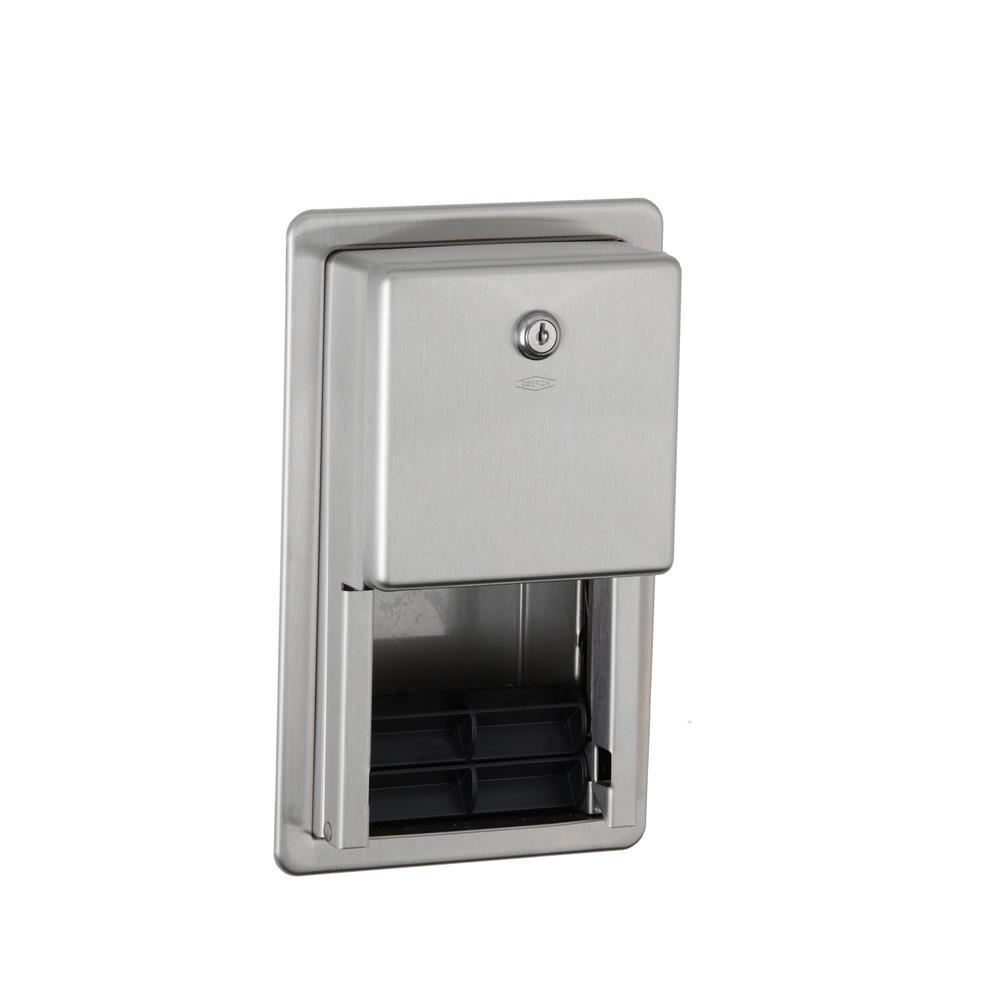 Bobrick Recessed MultiRoll Toilet Tissue Dispenser in Stainless