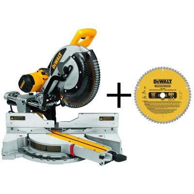 15-Amp Corded 12 in. Double-Bevel Sliding Compound Miter Saw with Bonus 20 Series 12 in. 60T Fine Finish Saw Blade