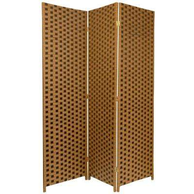 6 ft. Brown 2-Tone Woven Fiber 3-Panel Room Divider
