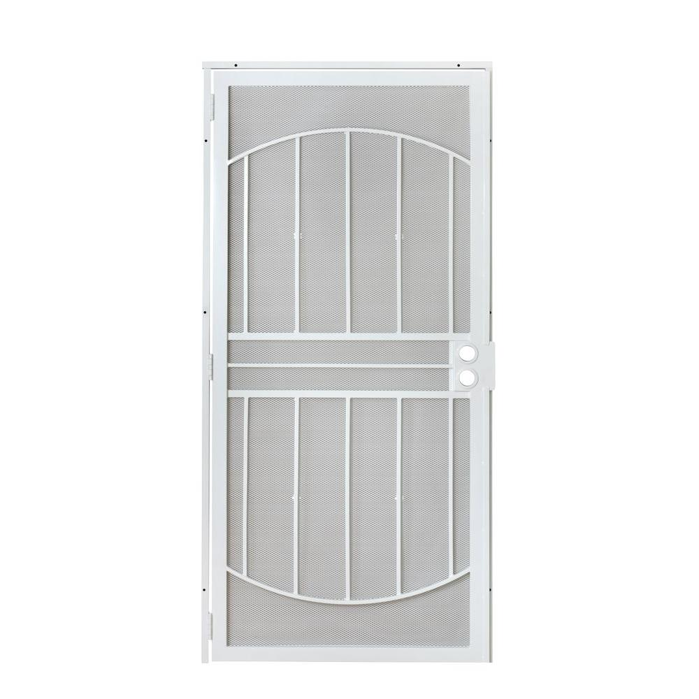 36 in. x 80 in. 805 Series White Defender Security Door