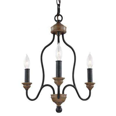 Hartsville 16.5 in. W. 3-Light Dark Weathered Zinc/Weathered Oak Single Tier Chandelier